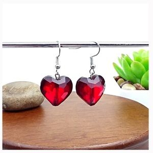 Valentine's Day Gift Red Heart Hook Earrings
